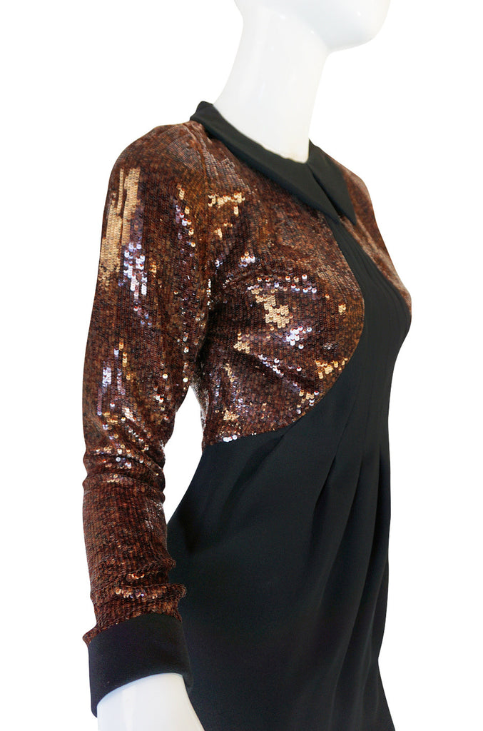 1980s Fine Geoffrey Beene Curved Sequin Fitted Dress