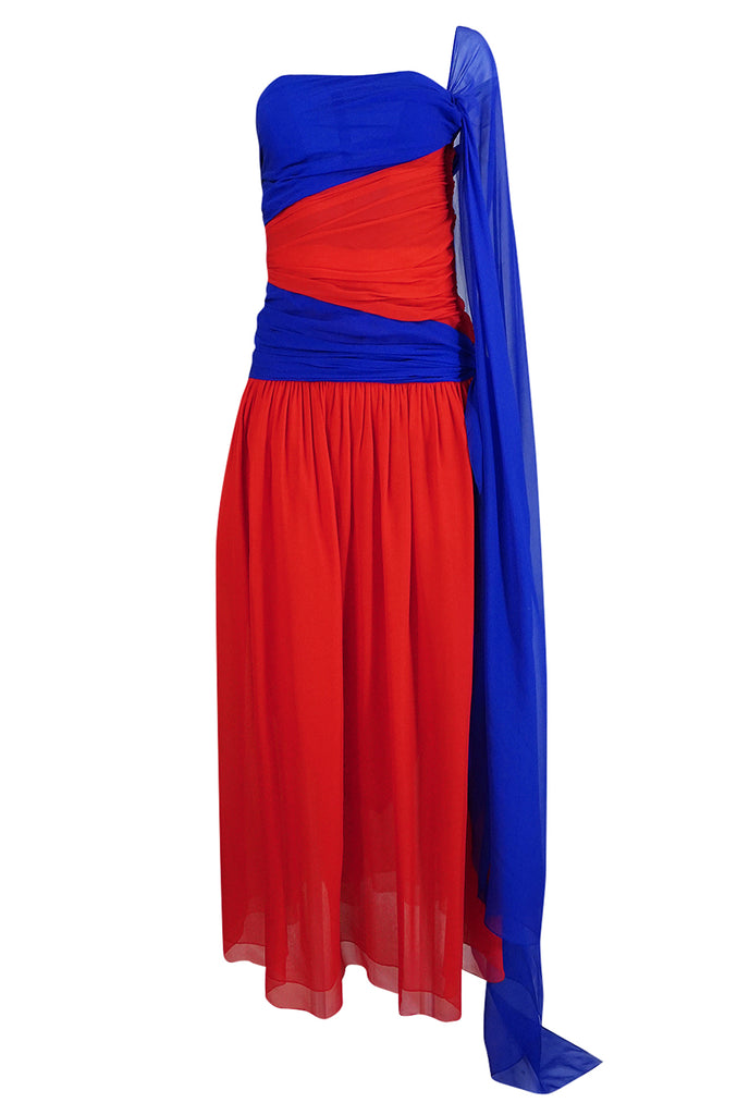 1970s Givenchy Bold Red & Blue Silk Chiffon One Shoulder Dress