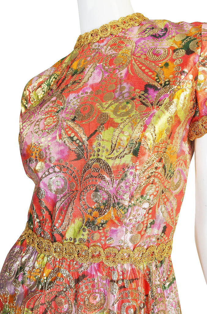 1960s Metallic Coral and Gold Maxi Dress
