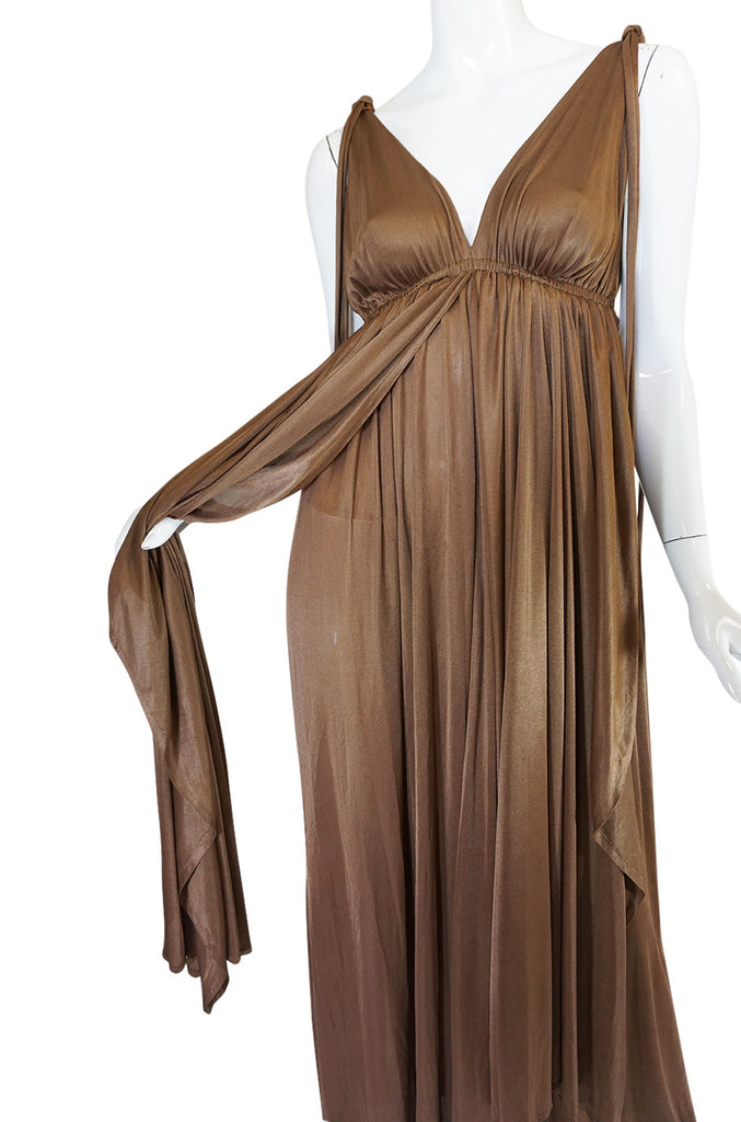 Superb 1970s Grecian Goddess Frank Usher Jersey Dress