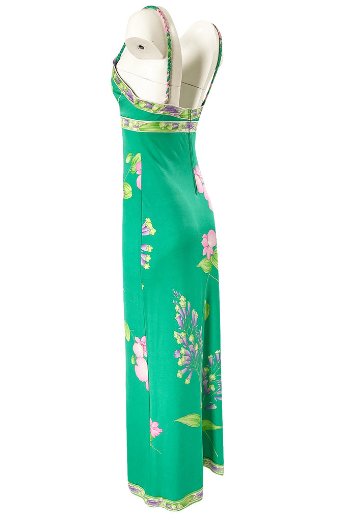 1970s Leonard Paris Green Floral Print Silk Jersey Halter Dress