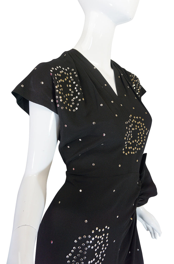 Rare 1940s Studded Hip Flare Black Crepe Dress