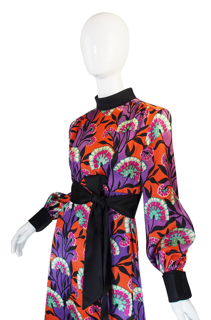 1960s Stunning Printed Bonwit Teller Silk Maxi Dress