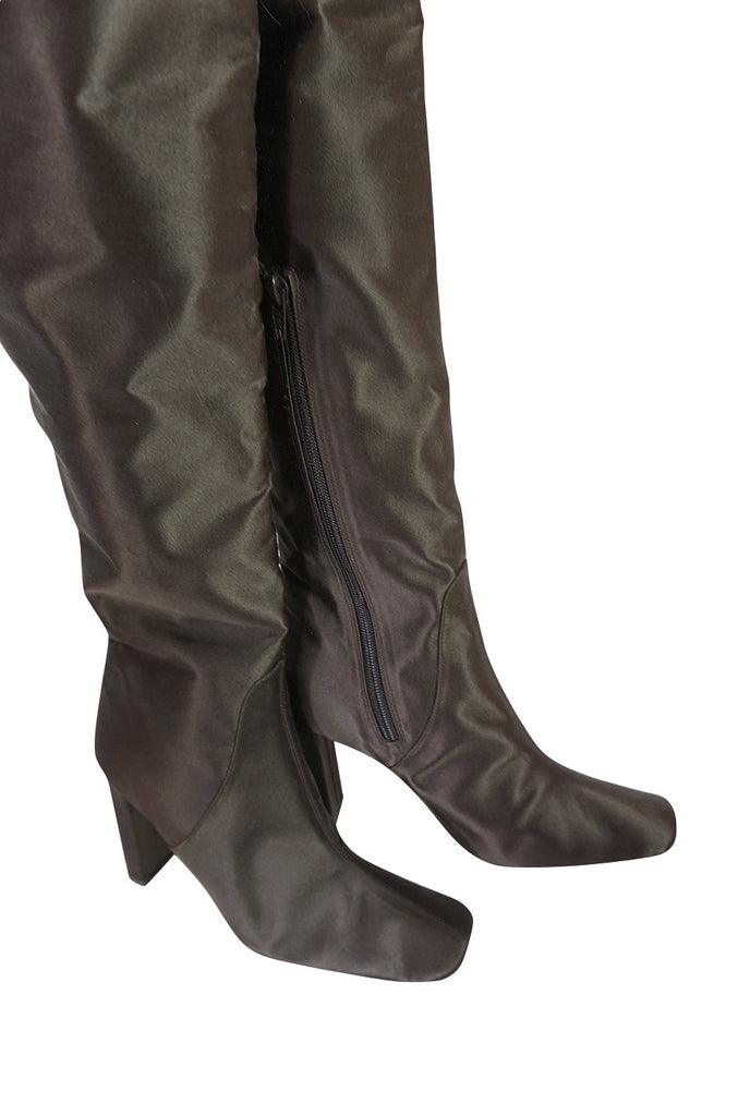 Early 2000s Brown Silk Marni Thigh High Boots