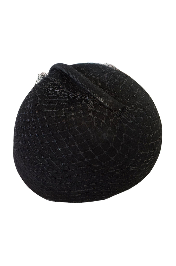 1970s Halston Black Felt and Netted Rounded Pill Box Hat