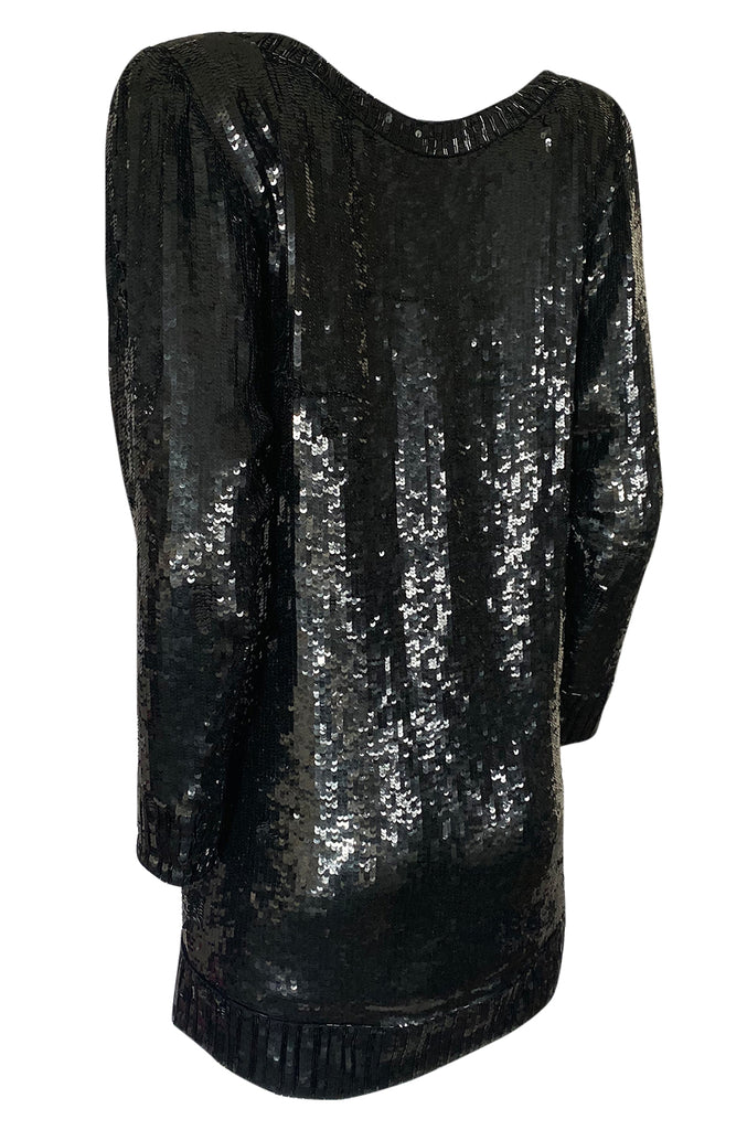 1980s Yves Saint Laurent Densely Covered Black Sequin Micro Mini or Tunic