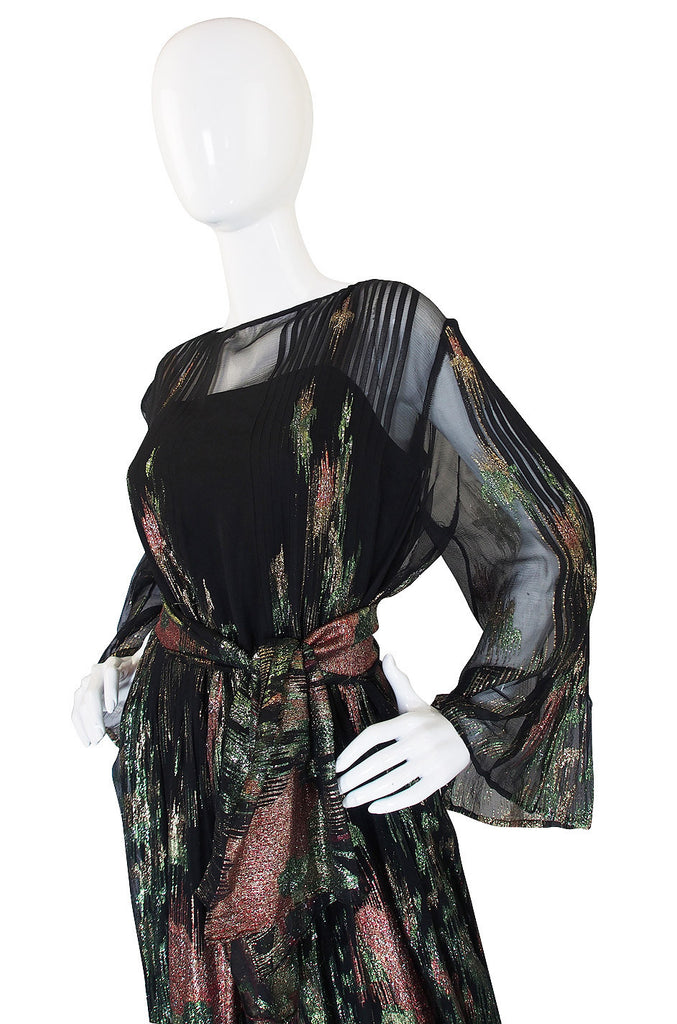 1970s Silk Chiffon Metallic Trigere Dress