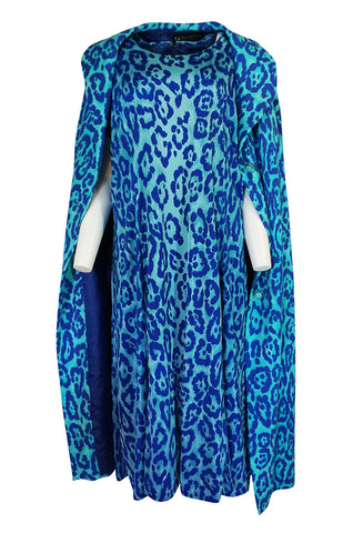 1970s La Mendola Silk Jersey Blue Print Dress & Knit Jersey Coat Set