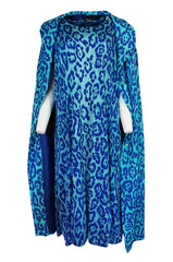 1970s La Mendola Silk Jeresy Blue Print Dress & Knit Jersey Coat Set