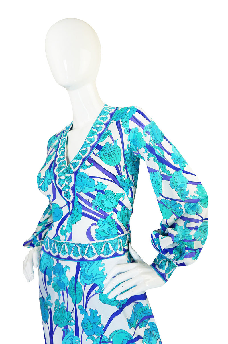 Super Sale! 1960s Blue Floral Formfit Pucci Nylon Dress & Panties