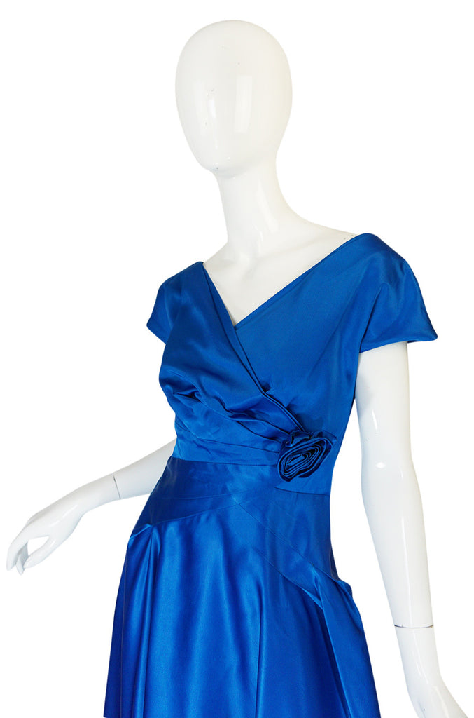 1950s Beautiful Blue Silk Satin Rosette Cocktail Dress