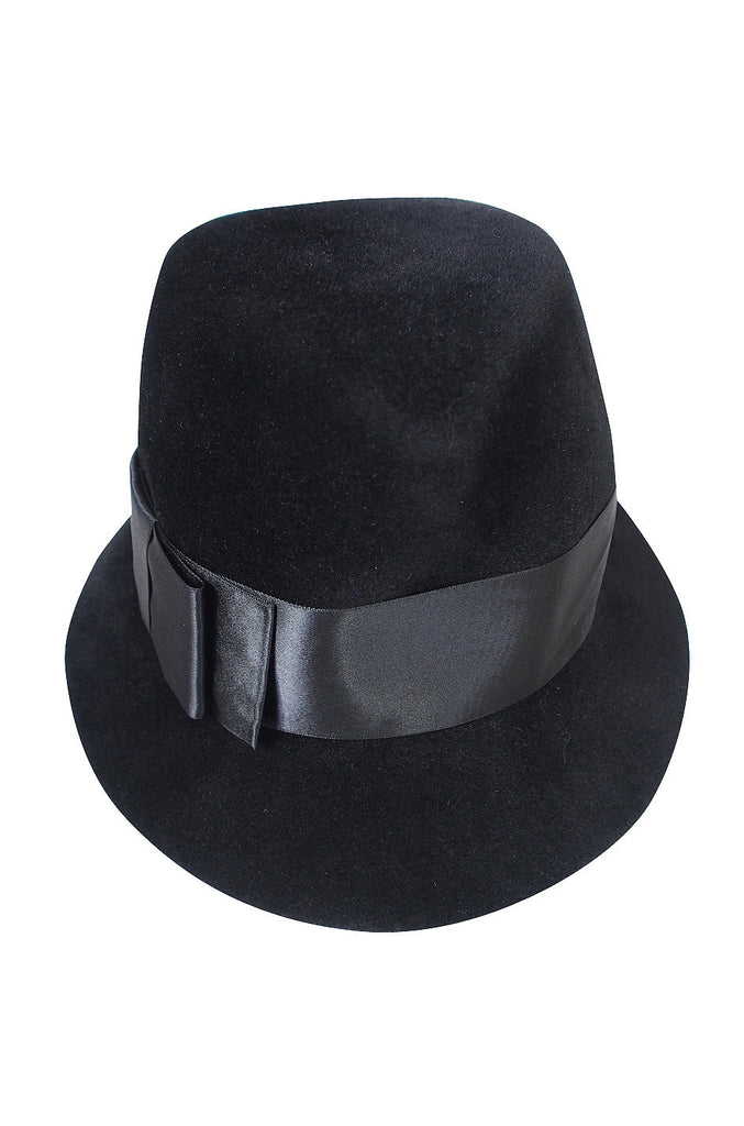 Superb 1960s Adolfo Black Fedora Hat