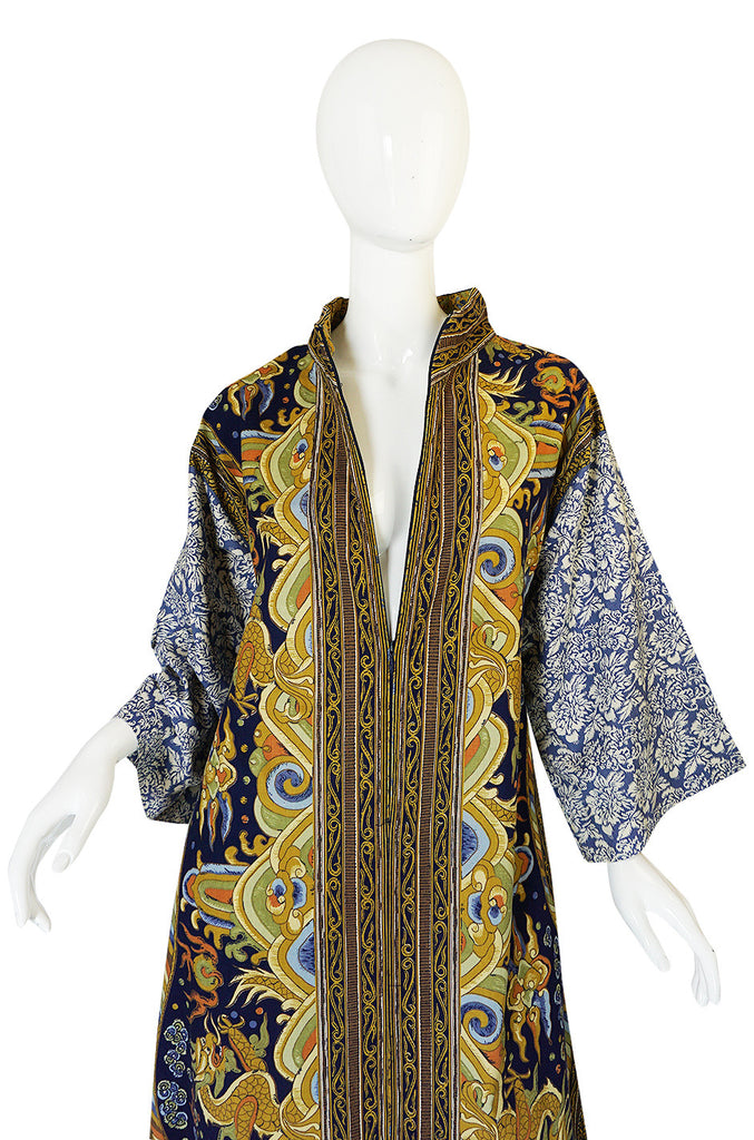 1970s Dragon & Floral Print Bill Blass Cotton Caftan Dress