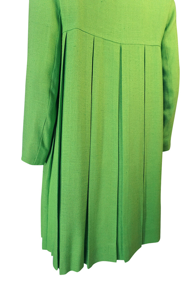 1960s Lee Parker Original Pleated Baby Doll Lime Green Coat