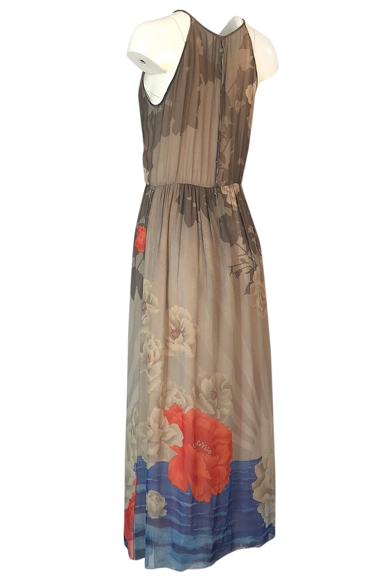 1970s Hanae Mori Sunrise & Large Floral Print Silk Chiffon Halter Dress