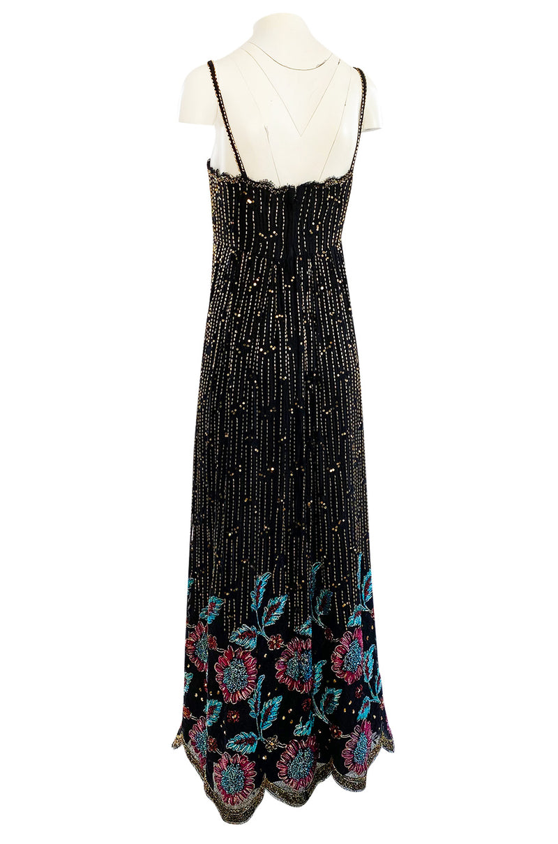 1970s Alfred Bosand Densely Beaded Sequinned & Embroidered Gold & Floral Dress