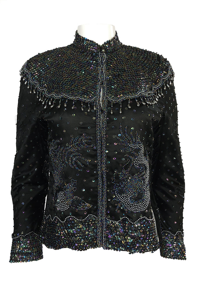1980s Jenny Lewis Iridescent Beaded & Sequinned Black Silk Jacket