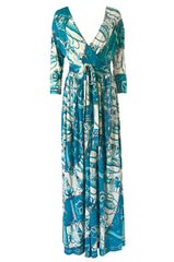 Rare 1972 Hermes 'Cliquetis' by Julia Abadi Printed Turquoise Silk Jersey Dress