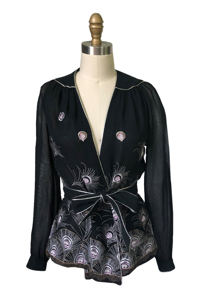1970s Janice Wainwright Embroidered Peacock Feather Chiffon Wrap Top
