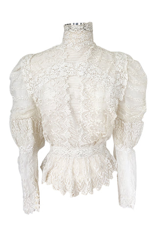 c1900s 3D Whte Embroidered Lace on Fine Silk Net Top w Elaborate Sleeves