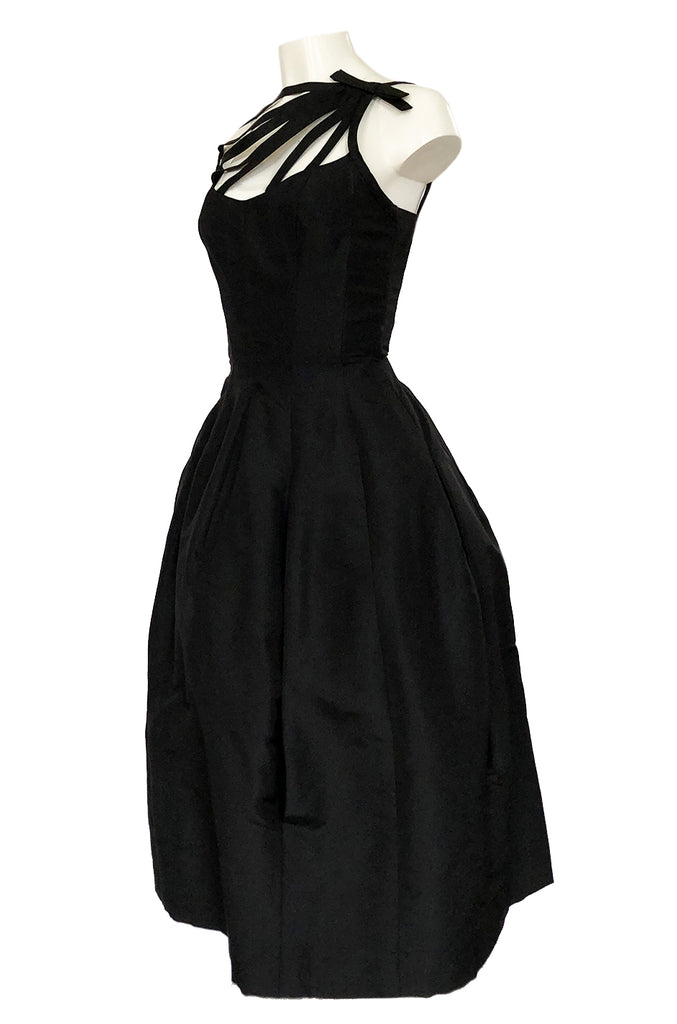 1950s Oleg Cassini Couture Black Silk Full Skirted Dress w Unusual Neckline
