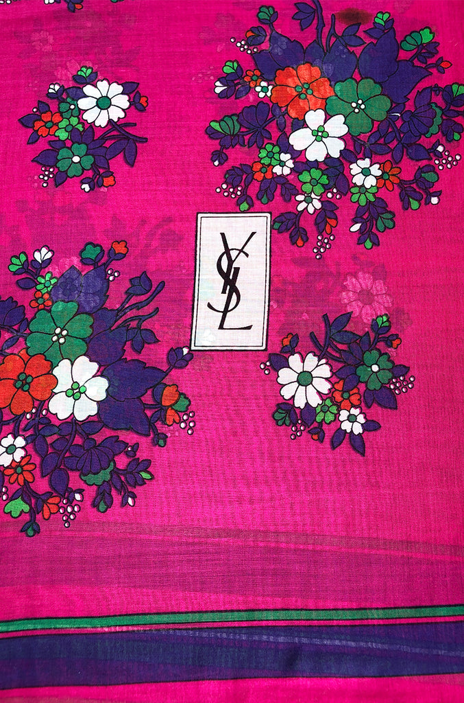 Huge 1970s Yves Saint Laurent Pink & Green Floral Cotton and Silk Scarf
