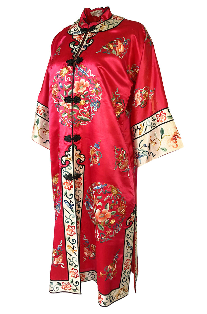 Gorgeous 1940s Light Red Silk Embroidered Asian Evening Coat