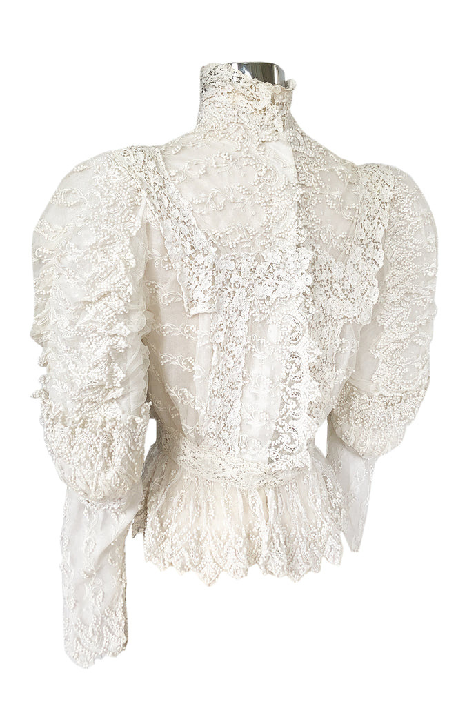 c1900s 3D White Embroidered Lace on Fine Silk Net Top w Elaborate Sleeves