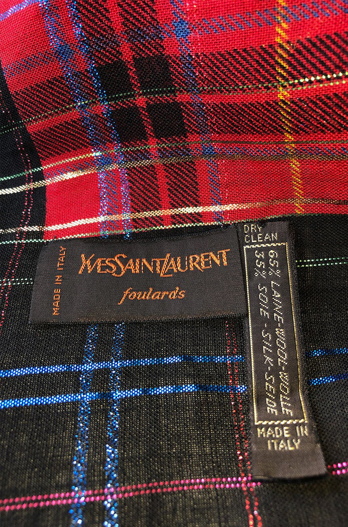 Huge 1970s Yves Saint Laurent Metallic Plaid & Paisley Fine Silk Wool Scarf