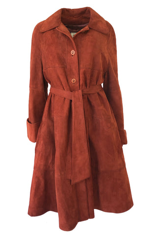 1960s Rust Colored Soft Suede Voluminous Swing Tent Coat w Belt