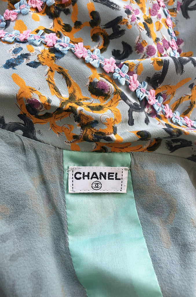 1990s Chanel Logo Printed Blue Silk Dress w Pink & Blue Floral Ribbon Trim