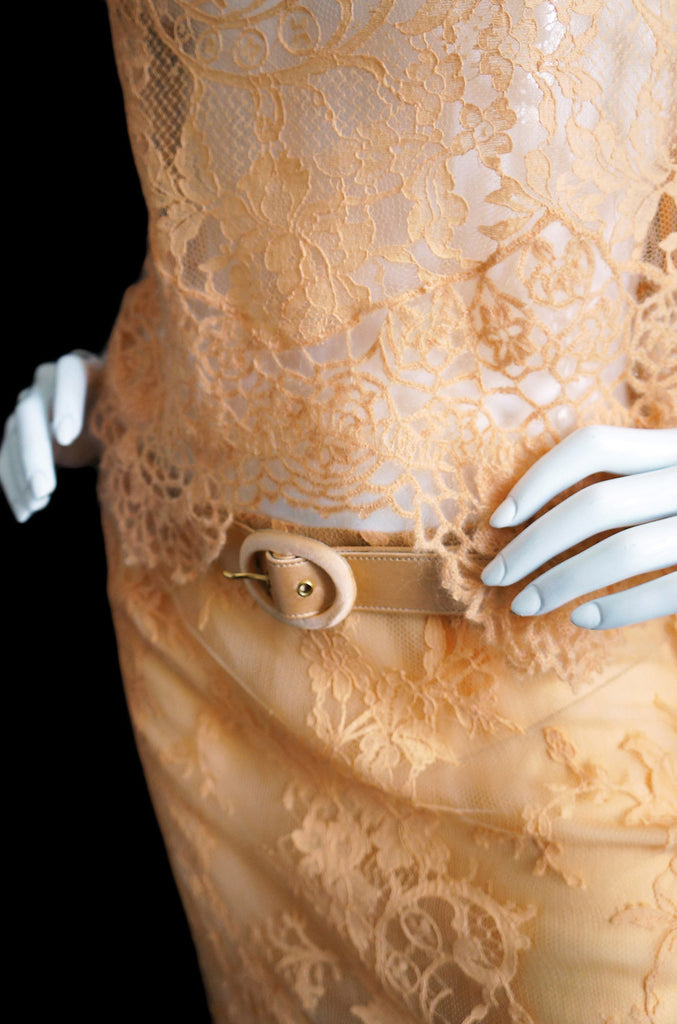 1990s Pale Peach Lace & Knit Valentino