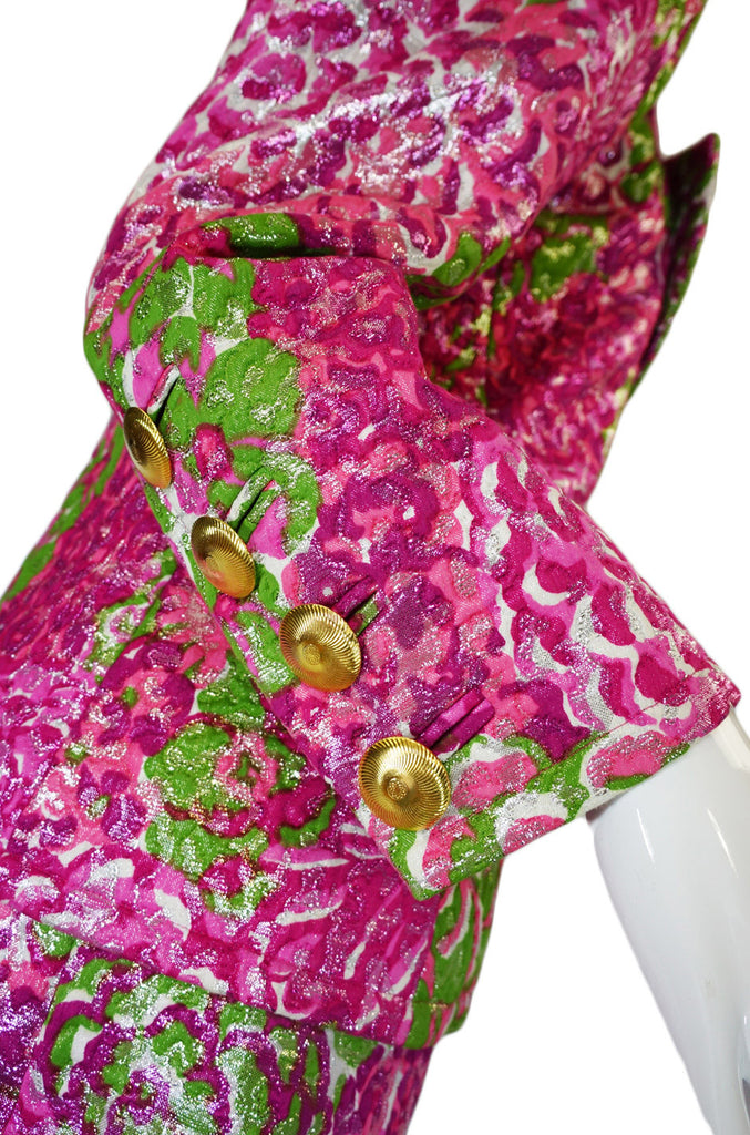F/W 1989 Yves Saint Laurent Pink Silk Brocade Suit