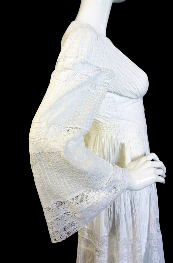 1950s White Mexican Wedding Dress