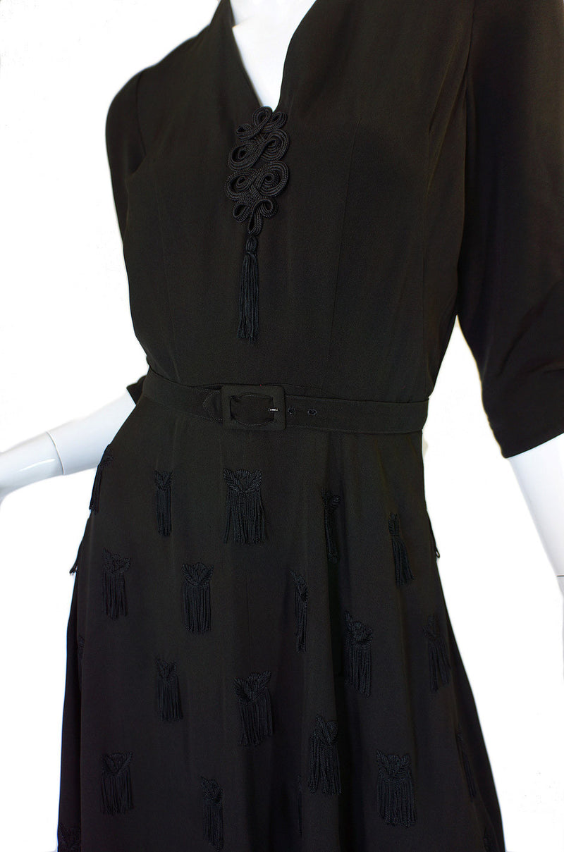 1940s Silk Tassle & Cord Swing Dress