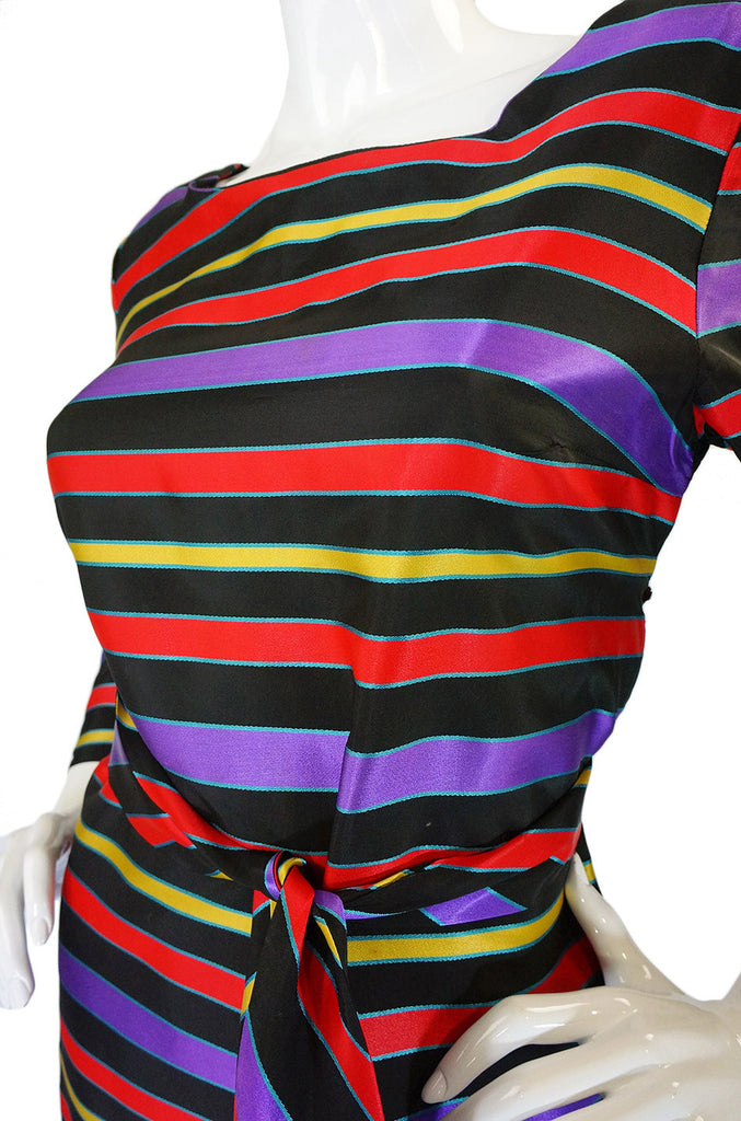 1960s Striped Silk Ribbon Shift Dress