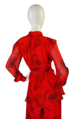 1970s Printed Red Silk Chiffon Set