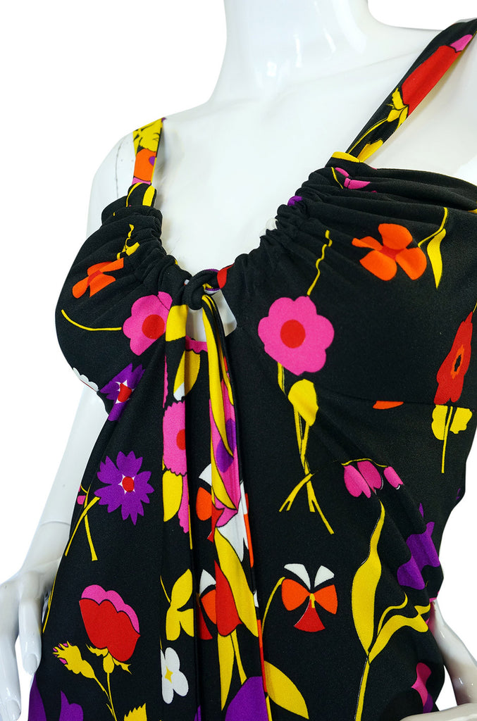 1970s Lanvin Floral Jersey Halter Dress