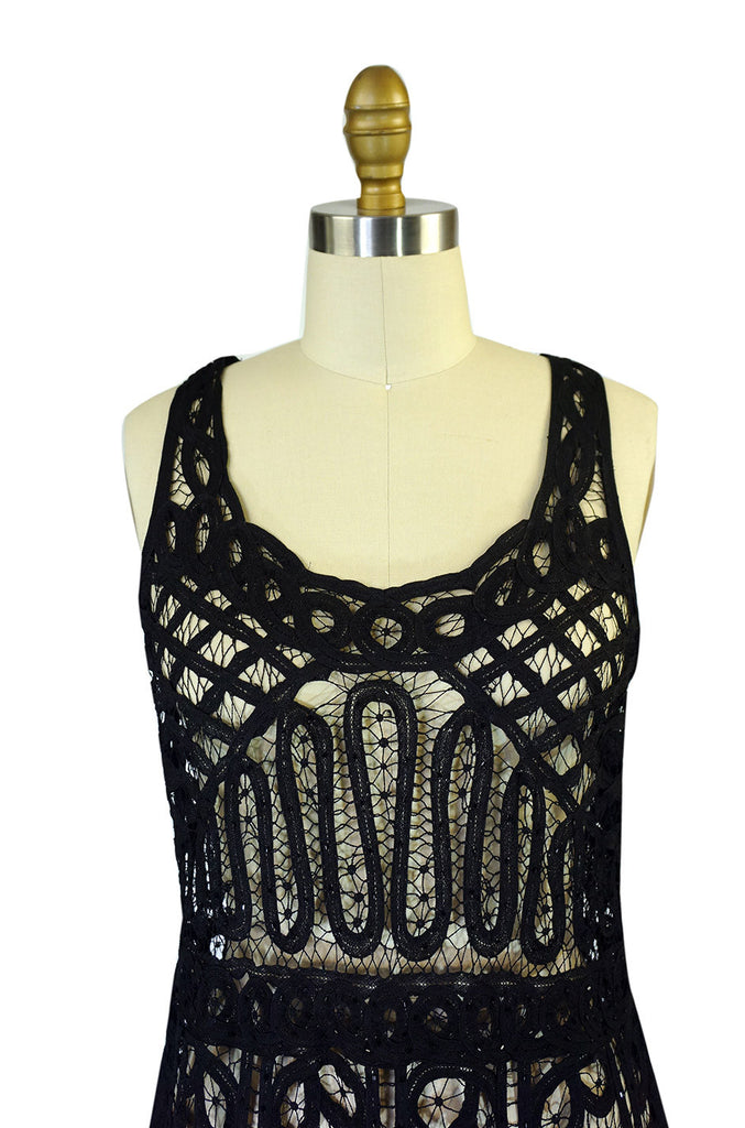 1920s Tape Lace & Beaded Flapper Dress