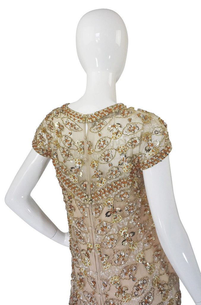 1960s Rare Nina Ricci Beaded Shift Dress