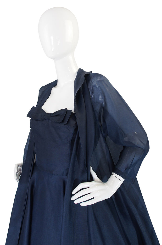 1950s Ink Blue Silk Organza Dress & Coat