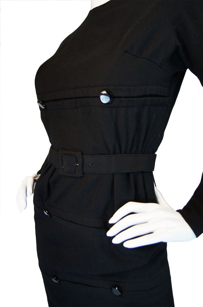 1940s Button Detail Black Wiggle Dress