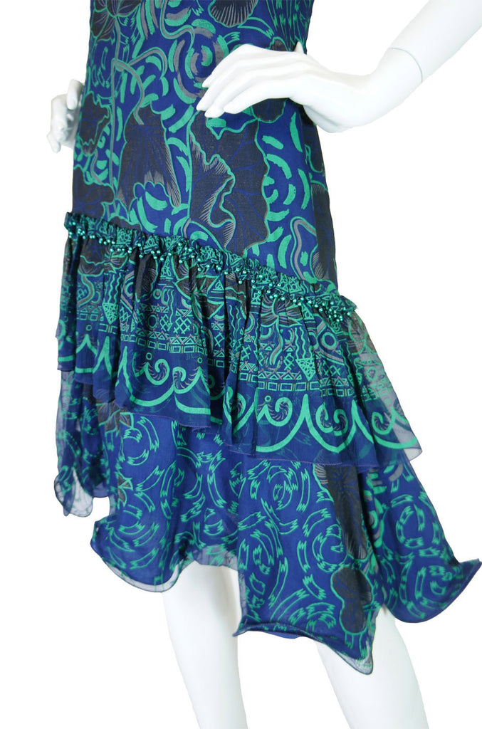 1970s Beaded Zandra Rhodes Silk Dress