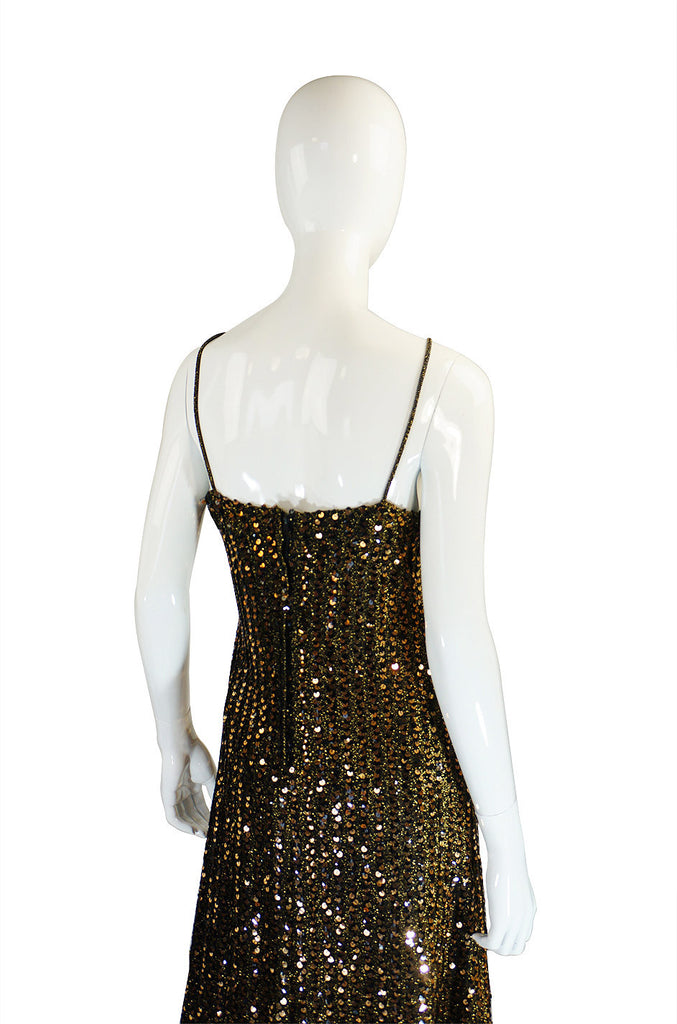 1970s Rare Biba Gold Sequin Maxi Dress