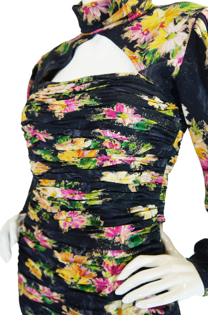 1980s Printed Silk Ungaro Wiggle Dress
