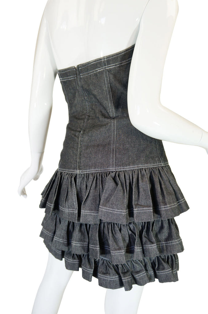 S1988 Patrick Kelly Strapless Ruffle Dress