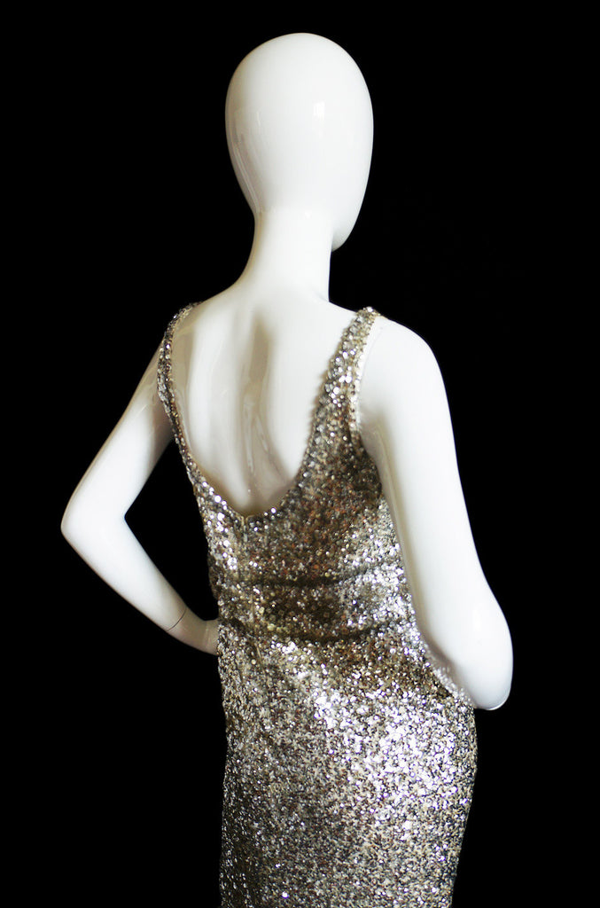1950s Heavily Beaded & Sequined Gown