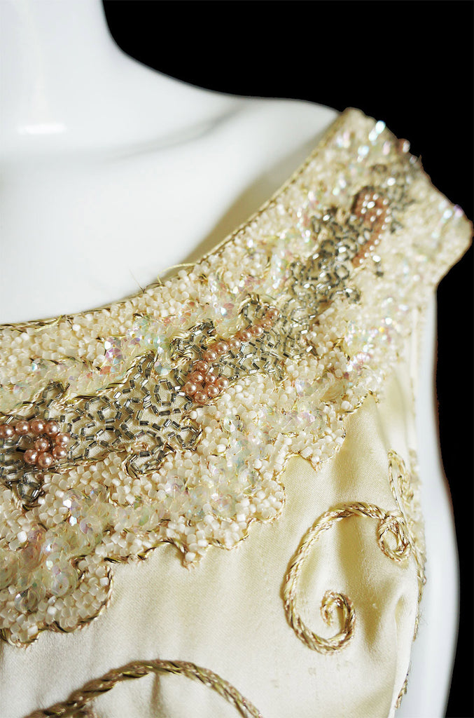 1950s Beaded & Embroidered Silk Gown