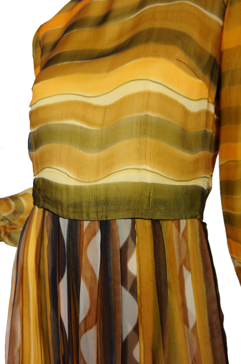 1960s Lovely Screened Silk Chiffon Maxi