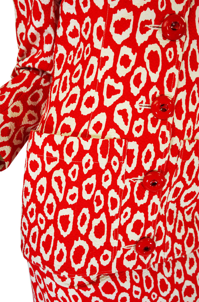 1989 Rare Red Print Patrick Kelly Suit